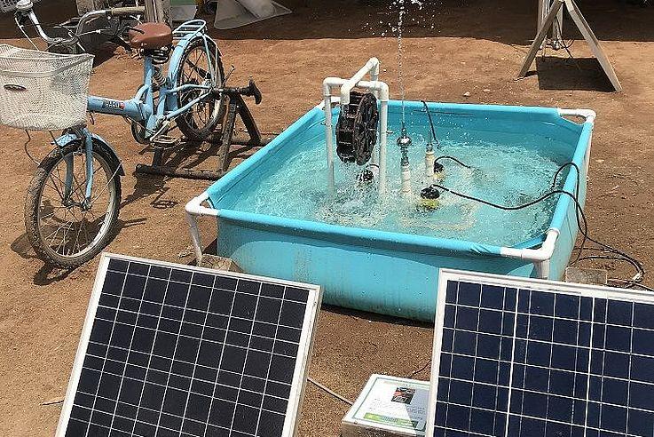 Eine solarbetriebene Sprinkleranlage.