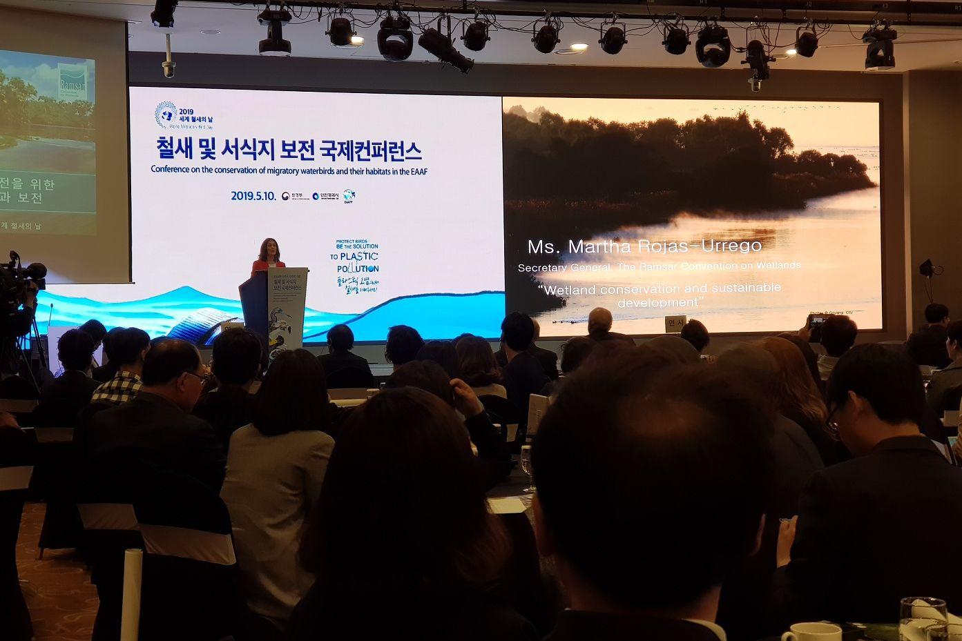 Vortrag von Martha Rojas-Urrego, von Ramsar Site Convention