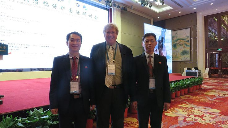 The representative of Hanns Seidel Foundation, Dr. Bernhard Seliger, together with the two delegates of North Korea.